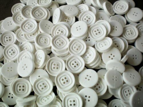 25 mm 40 L blanco grande 4 Agujero Botones Botón Chaqueta de costos de Artesanía Coser Tejer