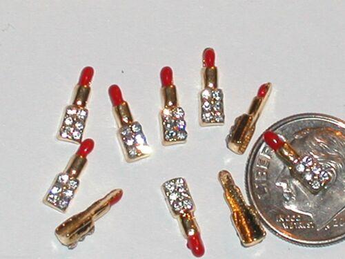 2pc Miniature Dollhouse TINY Little Makeup red Lipstick bail findings flatback S