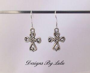 31c96338b Image is loading Celtic-Cross-Earrings-925-Sterling-Silver-Ear-Hooks-