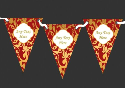 Regal Deep Red And Gold Vintage Damask Personalised Wedding Bunting