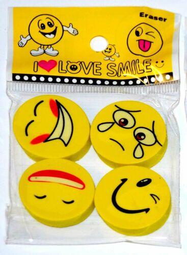 4 Emoji Smile Face Erasers Funny Rubbers Stationary Kids Party Loot Bag Fillers
