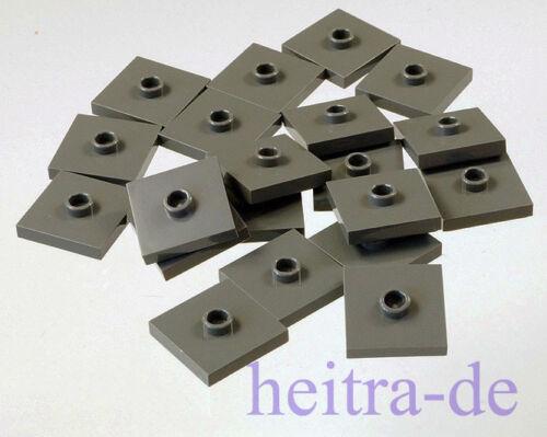 87580 NEUWARE 20 x Fliese 2x2 mit Noppen in der Mitte dunkelgrau LEGO