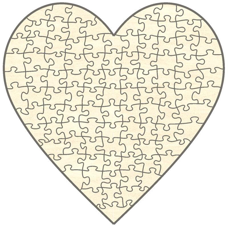 Offerte iniziali LEGNO-puzzle cuore, 100 parti, 56x56 cm, per dipingere autonomamente e rendere