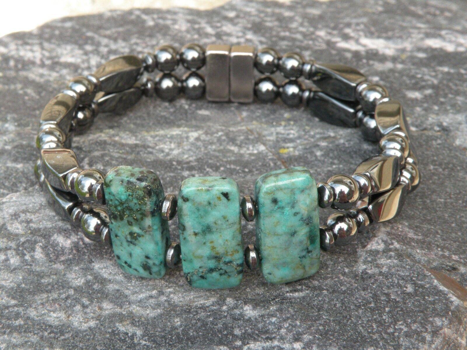 Double Magnetic Hematite Bracelet Anklet 3 AFRICAN TURQUOISE Gemstones 10x20mm