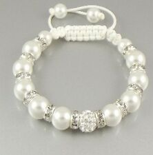 10pcs/lot 10mm fashion white women men ab clay pearl crystal shamballa bracelet