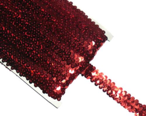Impresionante Fila 2 elástico de estiramiento Adorno de lentejuelas 22mm Se Vende Btm Varios Colores