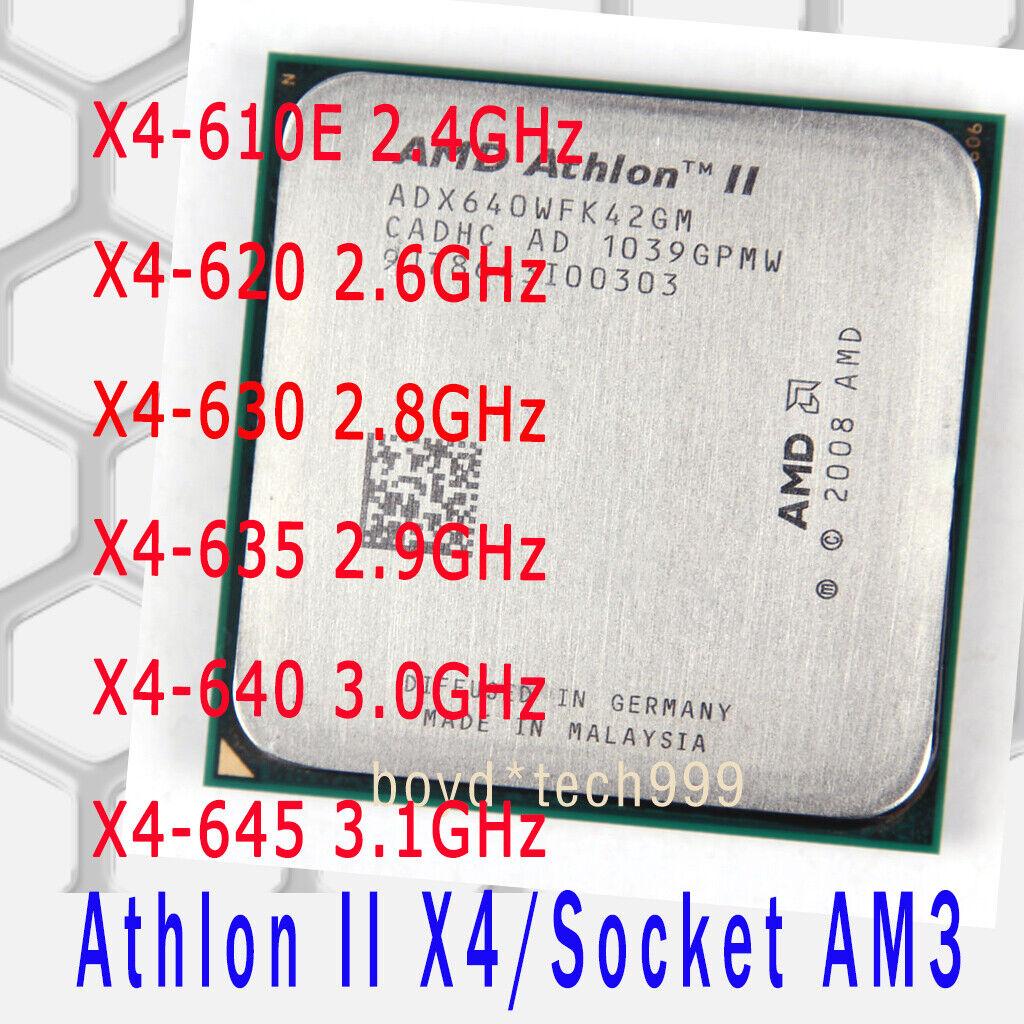 Amd Athlon Ii X4 610e X4 620 X4 630 X4 635 X4 640 645 Socket Am3 Cpu Processor Ebay