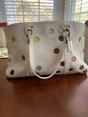 Rare Coach White Leather Multi-Color Polka Dot Tot