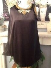 MANOUSH PARTY DRESS BLACK SILK BEADED FRINGED ART DECO 1920'S 38 UK 10