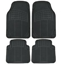 (4pc) Black All Weather Floor Mats Front & Rear Universal New Free Shipping USA