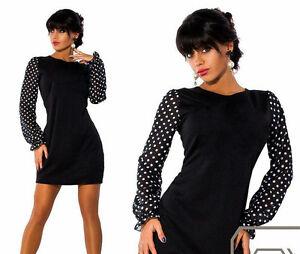 Kleid-Chiffon-Boho-Mini-Spitze-Mode-Party-Freizeit-Damen-36-38-40-XS-S-M-L-XL