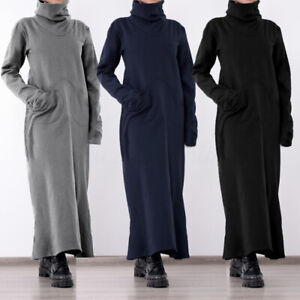 Womens-Long-Sleeve-Cowl-Neck-Loose-Casual-Plus-Size-Sweatshirt-Long-Maxi-Dress