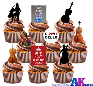 Cello Party Pack 36 Edible Cup Cake Toppers Birthday Classical Music