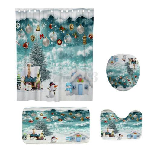 4Pcs//Set Waterproof Shower Curtain  Christmas Bathroom Toilet Mat Rug Cover F