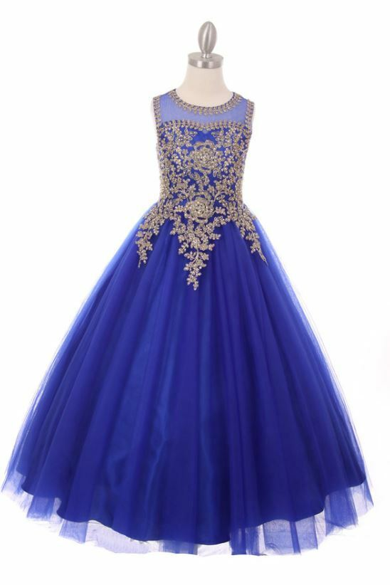 Royal Blue Beaded Gown Princess Dress Size 10 Pageant Wedding Party Rhinestones