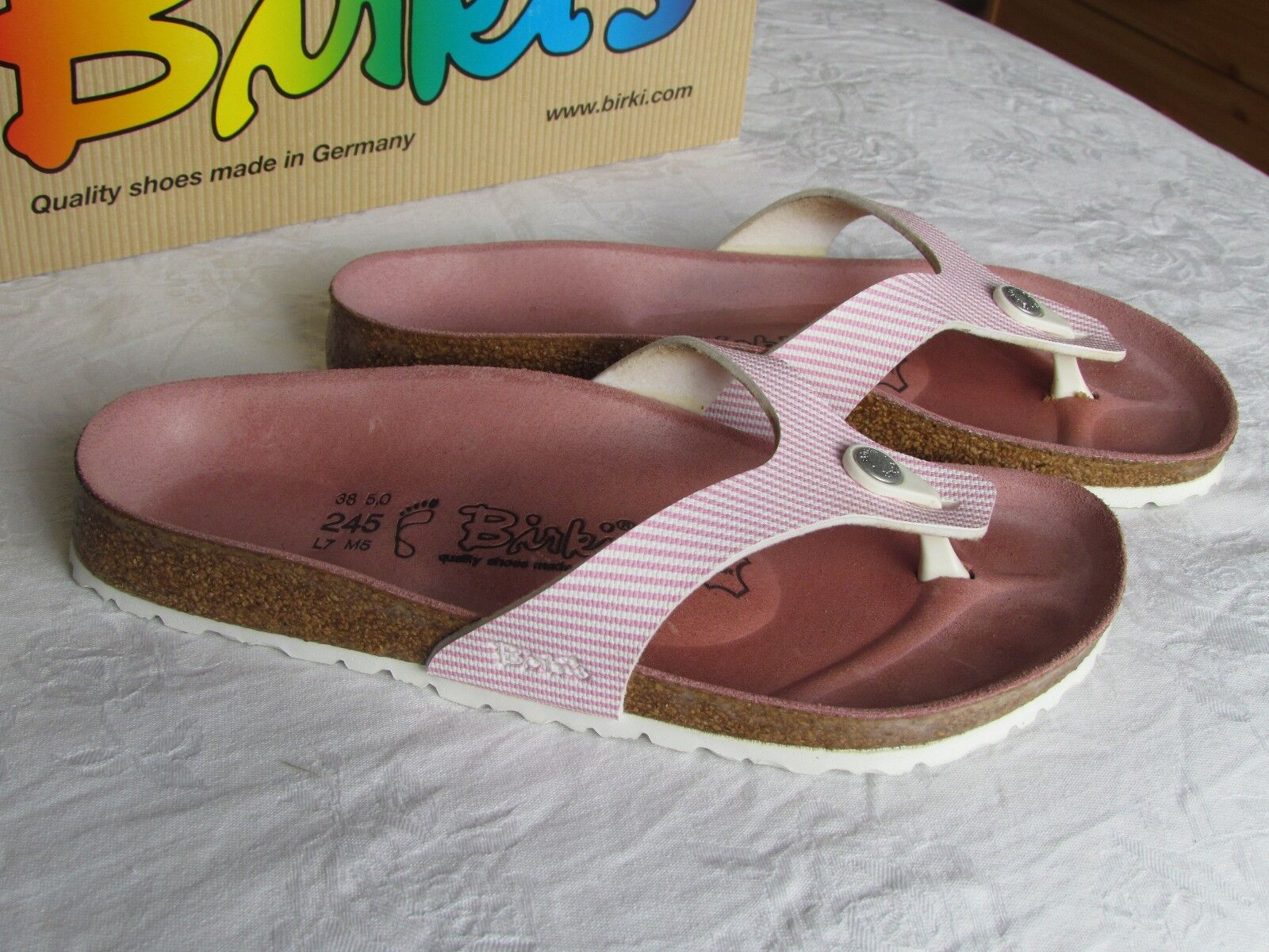 Último gran descuento NEW Birkis By Birkenstock Martina Ladies Soft Pink Stripes Sandals Size 5 EU 38