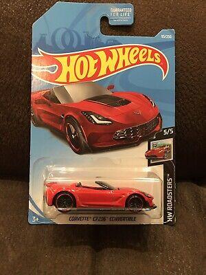 1:64 1//64 HW Roadsters 5//5 Red 2019 Hot Wheels Corvette C7 Z06 Convertible