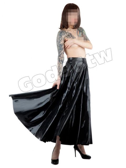 100% Latex Rubber Gummi 0.45mm Pleated Full Skirt Dress Catsuit Kostüm Rock sexy