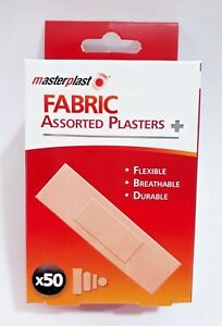 Pack-Of-50-Masterplast-Fabric-Plasters-Assorted-Durable-Flexible-Aid-NON-STICK