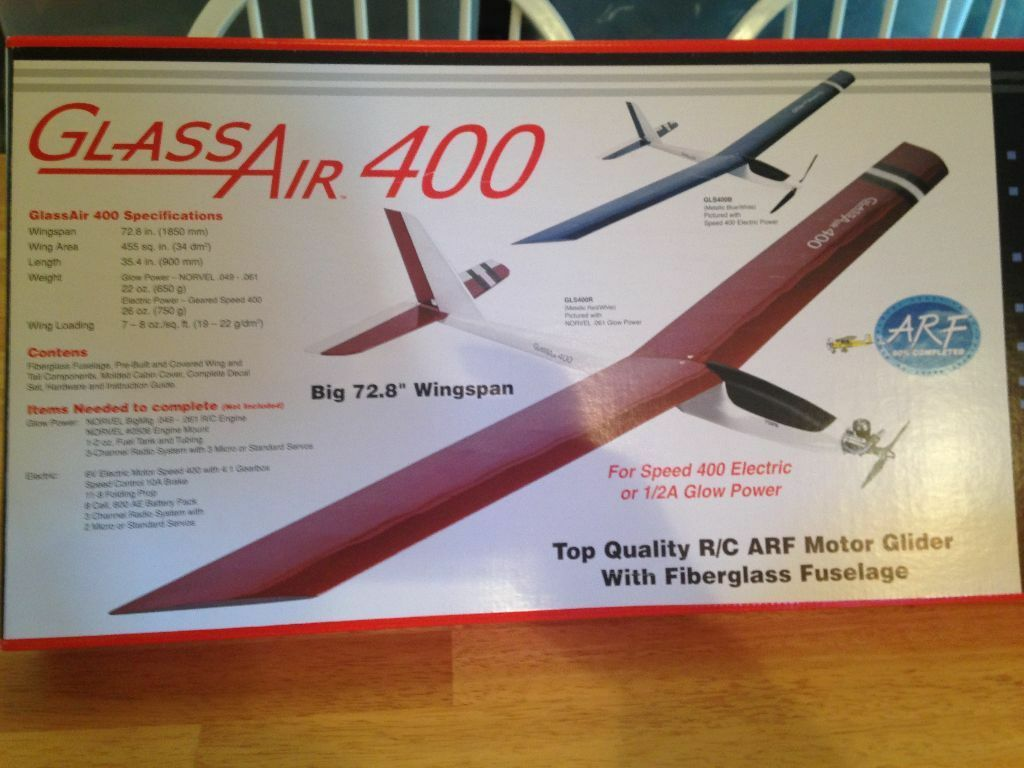 New R C Norvel Glass Air ARF - Cox, Norvel 1 2A Eng. Dimensione Plane - blu Glider