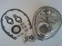 Sb Chevy Chrome Steel Timing Cover Kit W/ Timing Tab 283 327 350 Hot Rod V-8