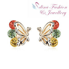 18K Gold GP Swarovski Crystal Beautiful Multicolored Butterfly Stud Earrings
