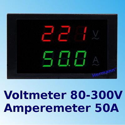 80-300V 50A AC Digital LED Voltmeter Amperemeter + Shunt Spannungsmeter Ammeter
