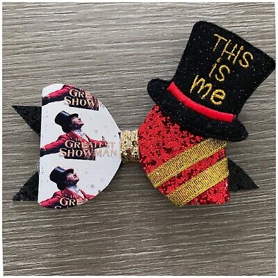 """handmade 3.7-4/"""" The Greatest Showman Glitter//fabric Bow Perfect Gift"""