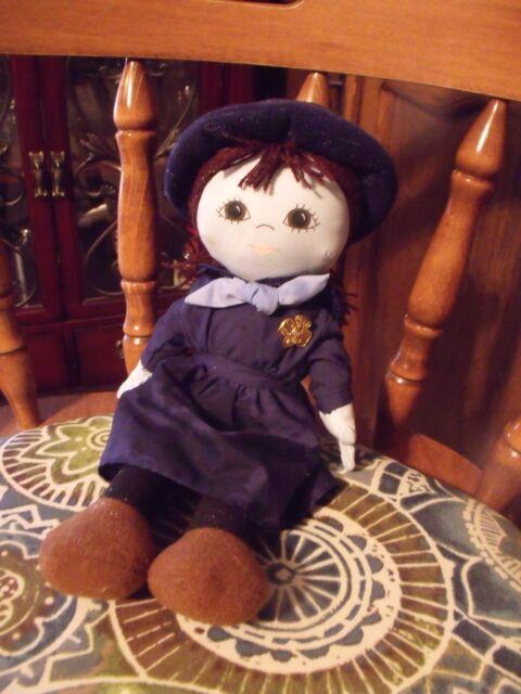 Vtg 1986 Dakin 75th Anniversary GIRL SCOUT Stuffed Doll Plush G.S. Pin