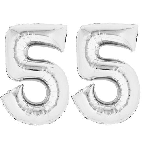 """Folienballon 80 cm de plata/"""" 55/"""" zahlenballon globo cumpleaños número de helio"""