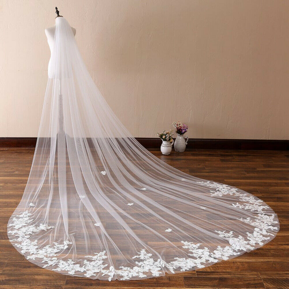 Wedding Veils With Comb Lace Appliques Cathedral Length Headbands Accessories