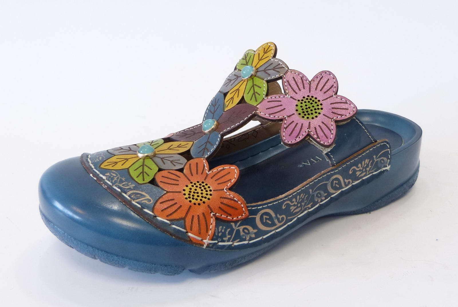 Laura vita clog Bianca 20 azul jeans flores cuero sandalia es cx08102