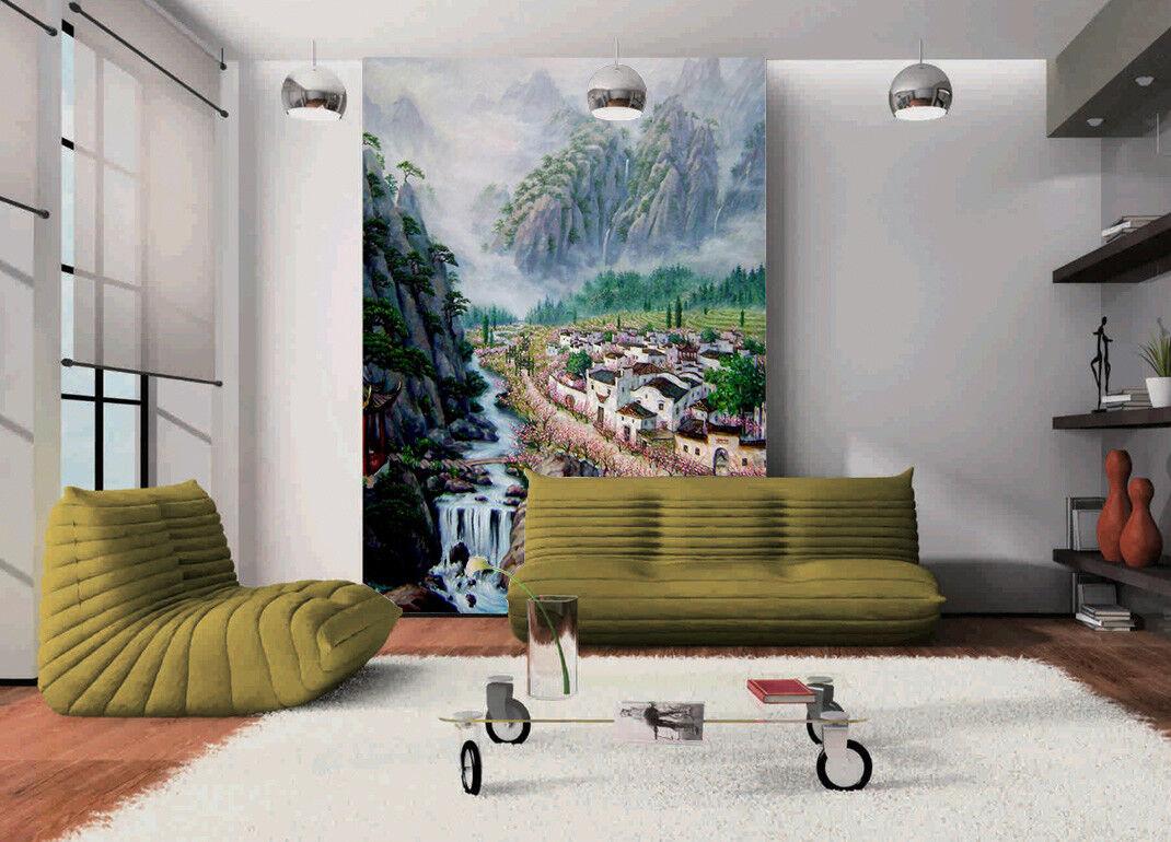 3D Town River Hill 8 Wall Paper Murals Wall Print Wall Wallpaper Mural AU Summer