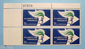 Sc-1234-Plate-Block-5-cent-Alliance-for-Progress-Issue