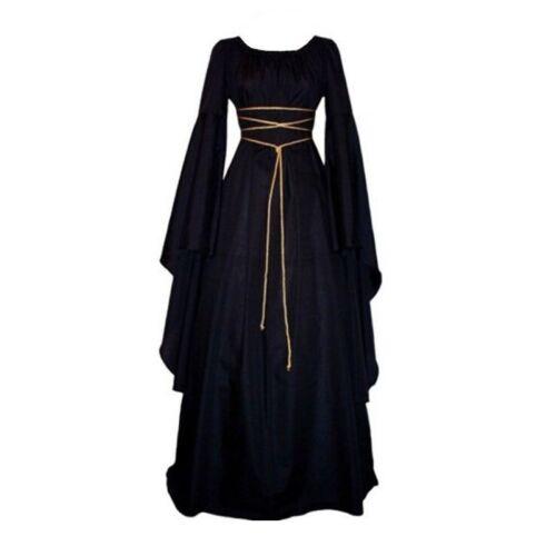 Ladies Retro Victorian Renaissance Medieval Halloween Gothic Witch Maxi Dresses