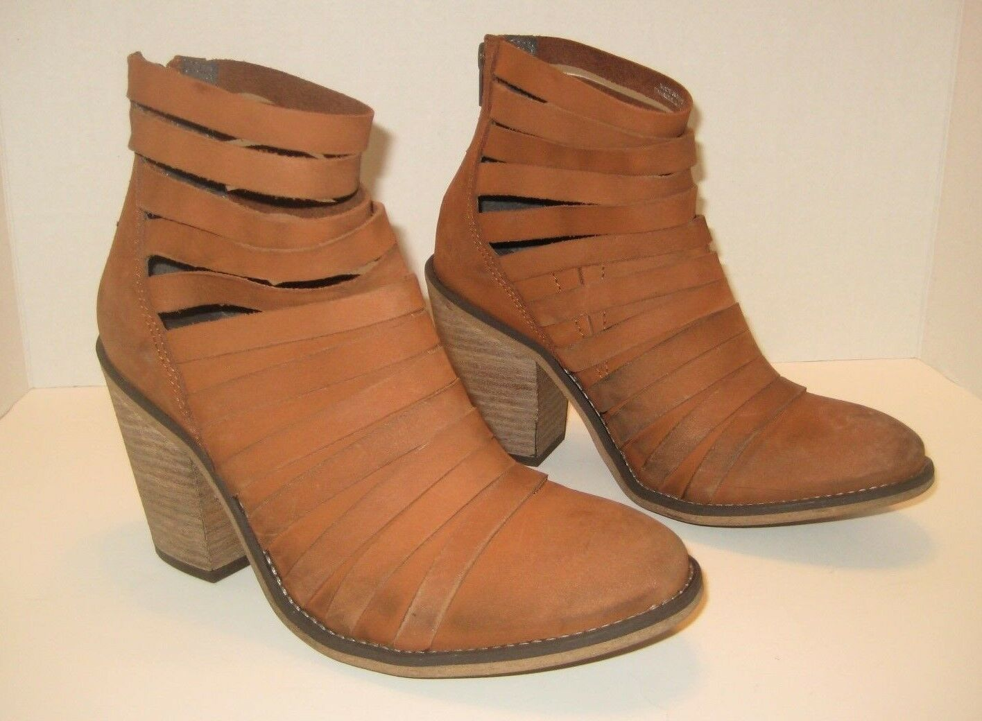 FREE PEOPLE HYBRID STRAPPY LEATHER BOOTIE BOOT TERRACOTTA LEATHER SIZE 7US  37EU