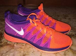 on sale 65cb9 b1558 Image is loading NIKE-Flyknit-Lunar-2-Atomic-Orange-Purple-Training-