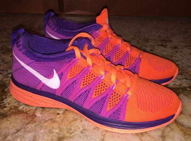 cdaaf7e8376f8 NIKE Flyknit Lunar 2 Atomic Orange Purple Training Running Shoes NEW Womens  Sz 7