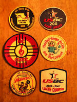 Lot Of 6 Old Patch Patches Vintage Bowling Usbc Women Tournament Music Old