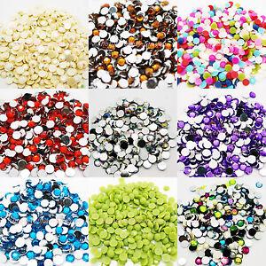 1000-Rhinestones-Acrylic-Crystal-Silver-FLAT-BACK-GEMS-1-5-2-3-4-5-6-8-10mm