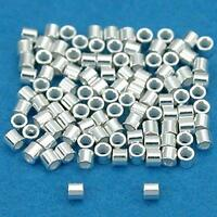 100 Sterling Silver Crimp Beads Ultra Micro 1mmx1mm, New, Free Shipping on Sale