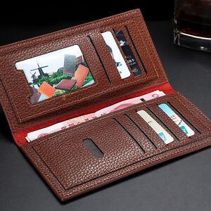 Fashion-Men-039-s-Soft-PU-Leather-Long-Wallet-Billfold-Card-Money-Holder-Bag-AU