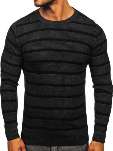 Pullover Strickpullover Sweater Pulli Rundhals Gestreift Herren BOLF 5E5 Motiv