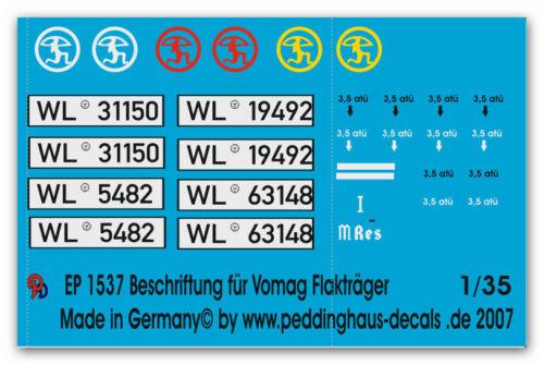 Peddinghaus  1537 1//35 Beschriftungssatz für Vomag Flakträger Flak Reg 42