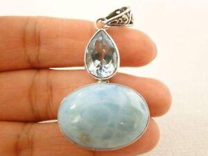 Natural-Blue-Larimar-Blue-Topaz-925-Sterling-Silver-Pendant