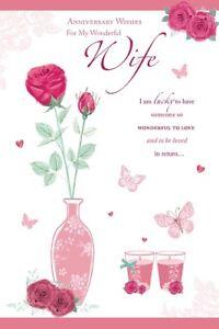 Femme Anniversaire Carte Joyeux Anniversaire Pour Ma Femme Wishing Well C86 Ebay