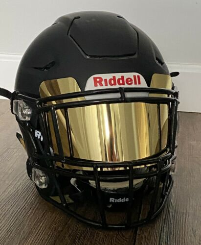 DISPLAY ONLY GOLD Chrome Football Helmet Visor Eye Shield Full size helmet for