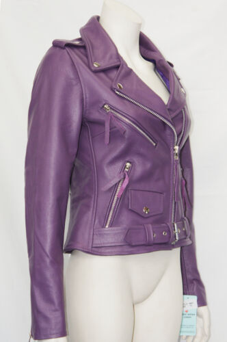 Classic Purple Leather Biker Hide Motorcycle Brando Jacket Style Cruiser Ladies EAdP8q