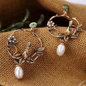 81abc93e8 Image is loading Antique-Golden-Vintage-Bird-Imitation-Pearl-Stud-Earrings-