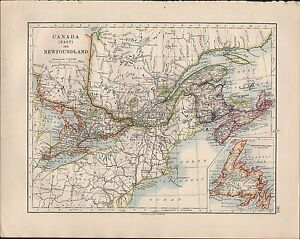 1914 MAP ~ CANADA EAST NEWFOUNDLAND NEW BRUNSWICK NOVA SCOTIA QUEBEC